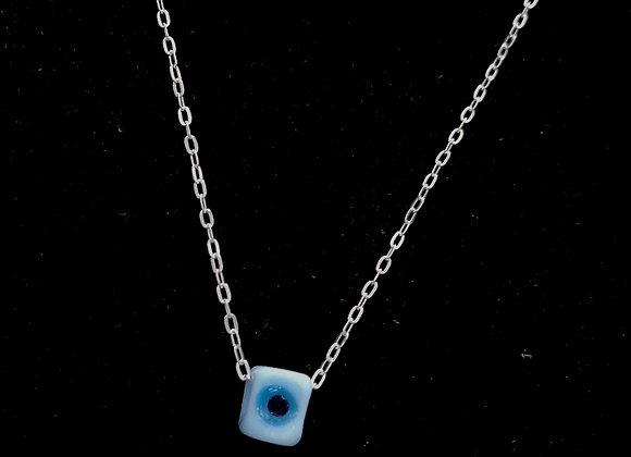 Mavi Nazar Boncuklu Gümüş Kolye