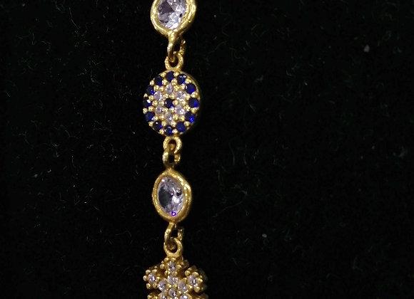 Altın Renkli Gümüş Nazar Boncuklu Bileklik
