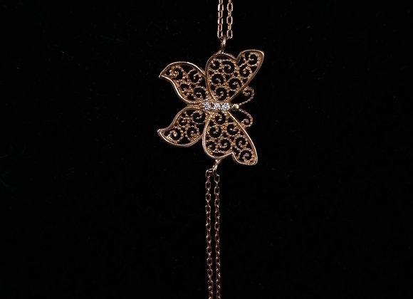 Kelebek Rose Renkli Gümüş Bileklik