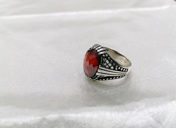 Kırmızı Zirkon Taşlı Erkek Gümüş Yüzük