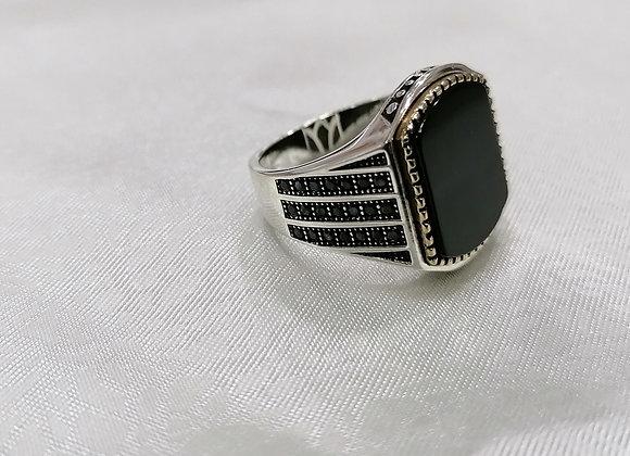 Onx Taşlı Gümüş Yüzük Oval Model