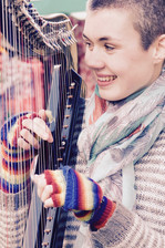 Bristol Harpist - busking in Bath