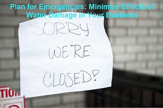 Minimize Business Water damage
