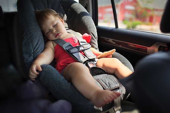 Prevent Heatstroke In Cars Baby Sleeping Inside Car, prevent heatstroke in cars, stop baby deaths in cars, prevent children dying in hot car, keep children safe in hot cars, child safety in hot cars
