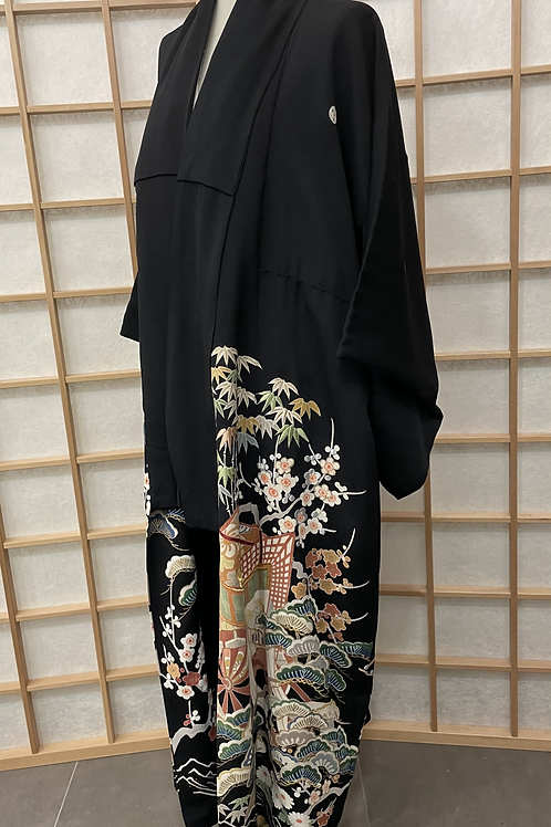 Robe/Manteau Kimono Noir brodé