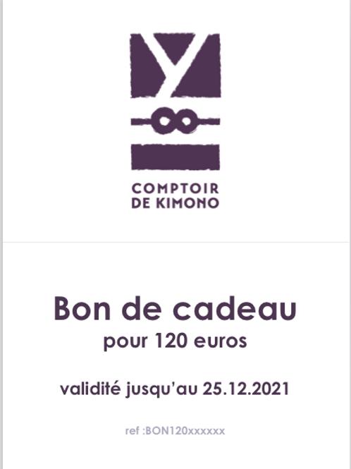 Bon de Cadeau 120 euros