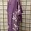 Thumbnail: Robe/Manteau Kimono Lavande feuilles blanches