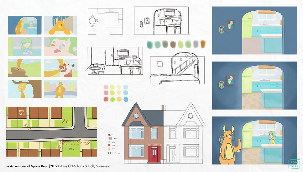 Exploratory design work for the environments, including colour swatches, style tests and thumbnails.