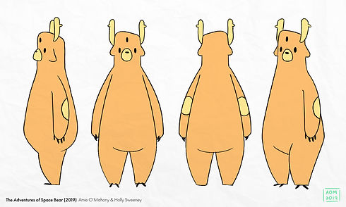 Final draft of Space Bear's turnaround with colour.