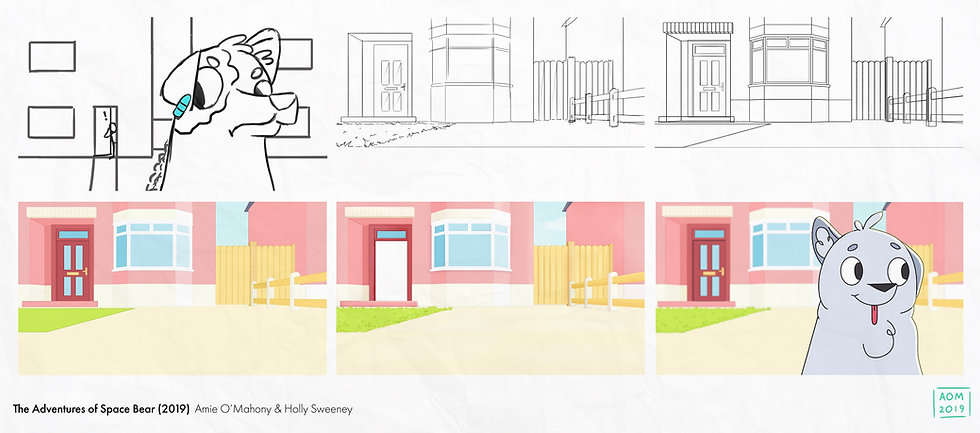 Process shows animatic, rough and clean layout, block colour, final colour and final shot.