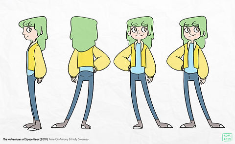 Final draft turnaround of Beth's turnaround with colour.