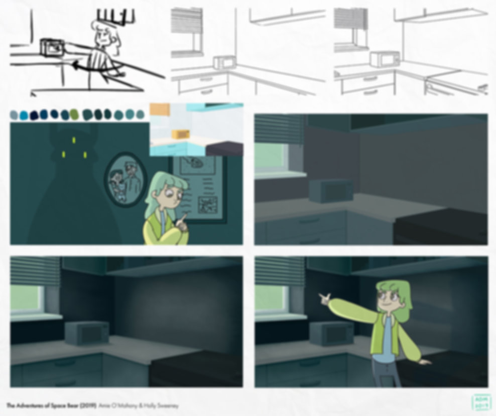 Process shows animatic, rough and clean layout, colour revision, final colour and final shot.
