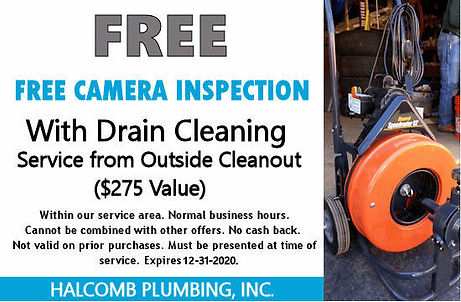 Sewer camera free service coupon 12-31-2