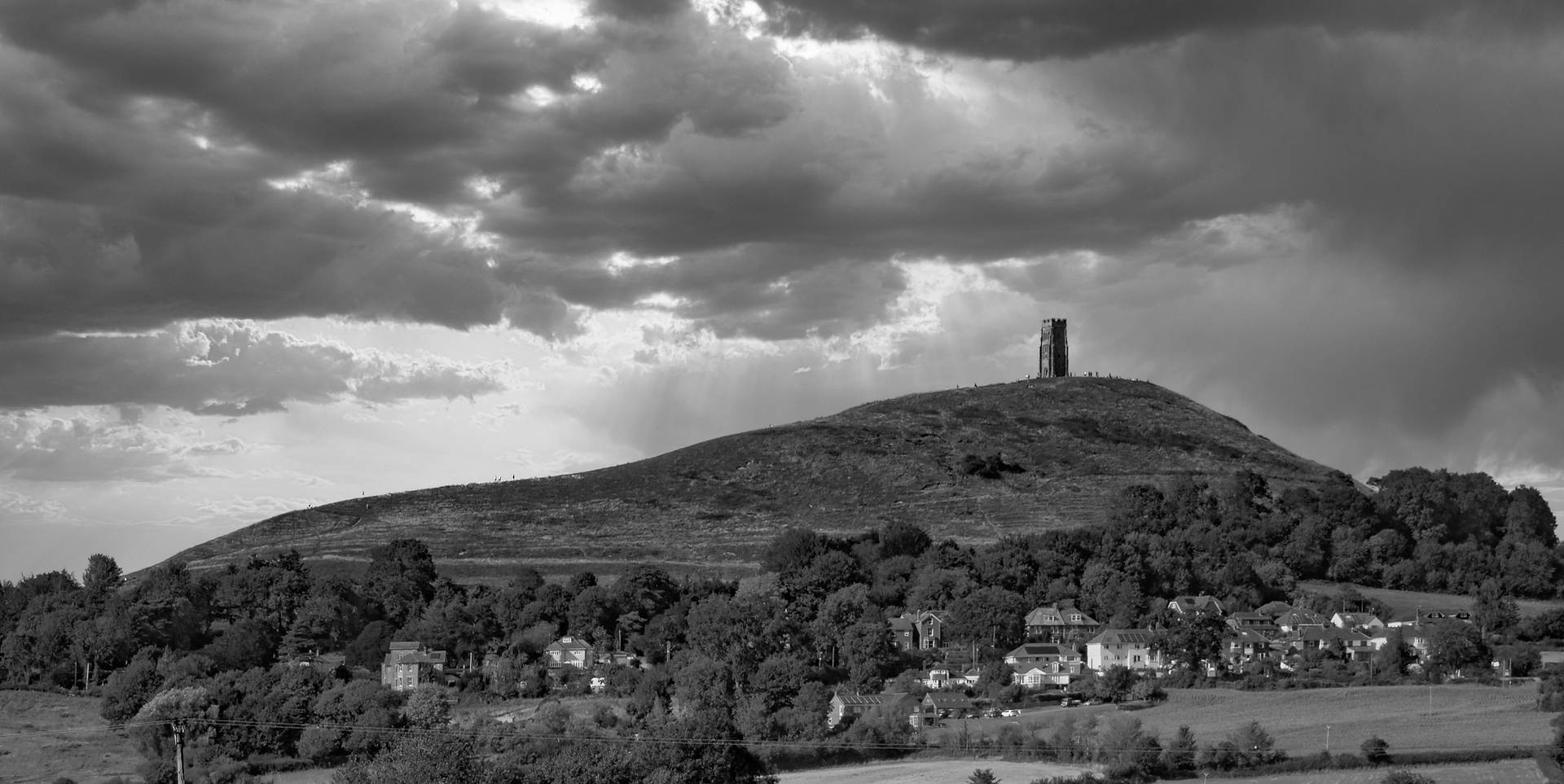 Tor Hill Glastonbury B&w.jpg