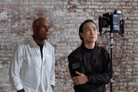 Derek Ting and Michael Dorn review a shot