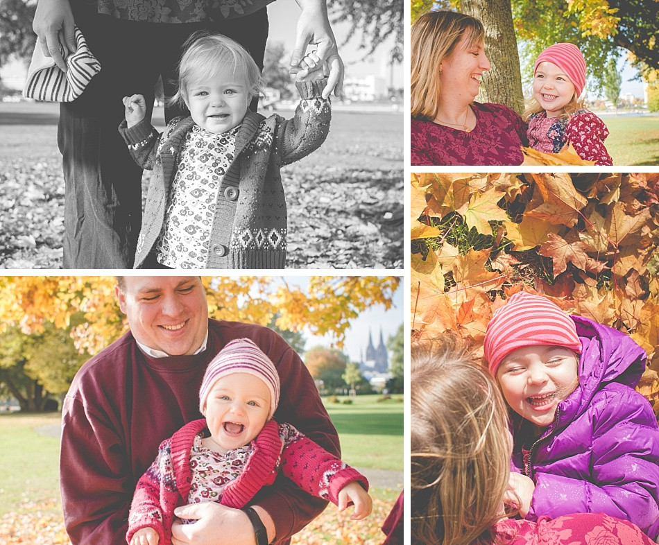natürliche Familienfotos im Herbst draußen