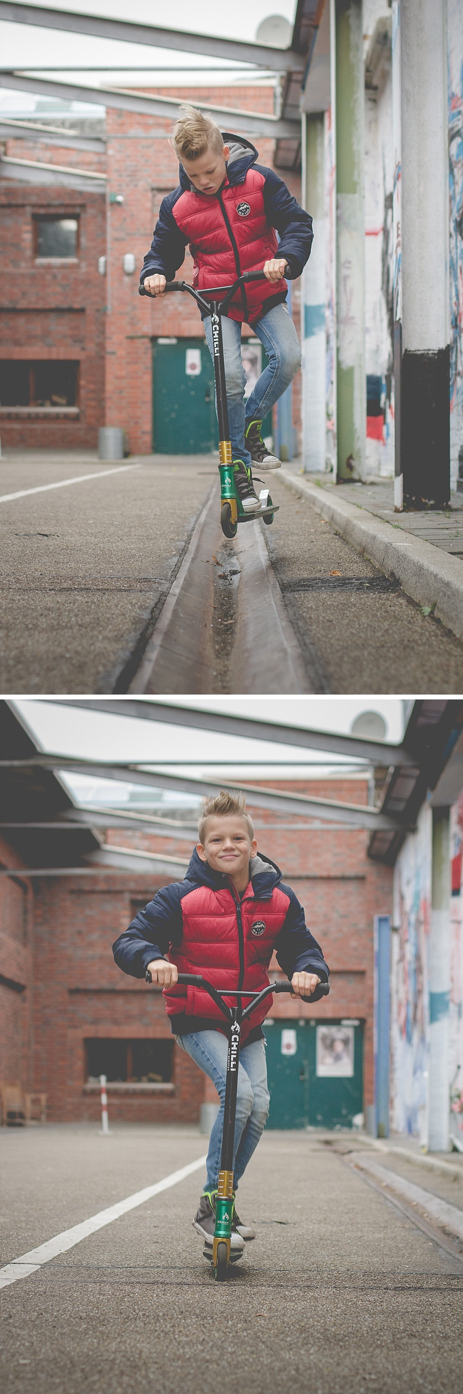 Kinderfotos mit Stunt Scooter