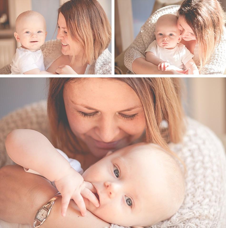 Babyfotos mit Mama, innig und natürlich, zuhause