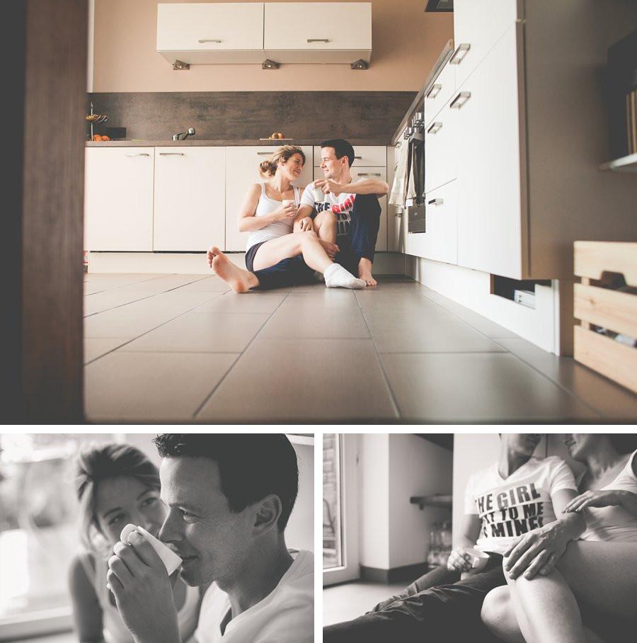 Paarfotos zuhause im Dokumentarstil
