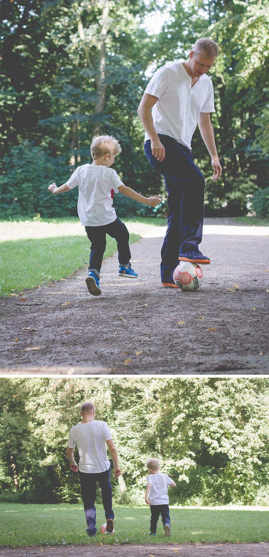 Vater-Sohn-Fotos draußen / Familienfotografie Köln