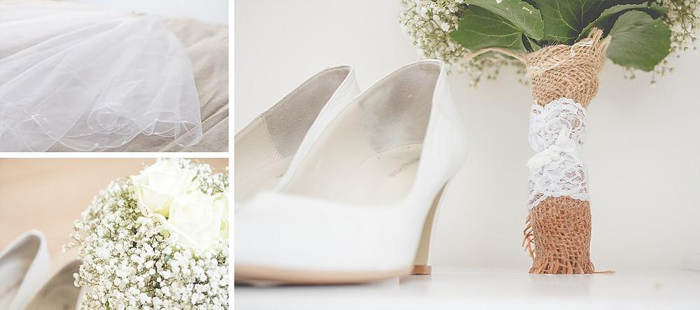 Detailaufnahme Brautschuhe, Brautstrauß, Schleier / Brautvorbereitung