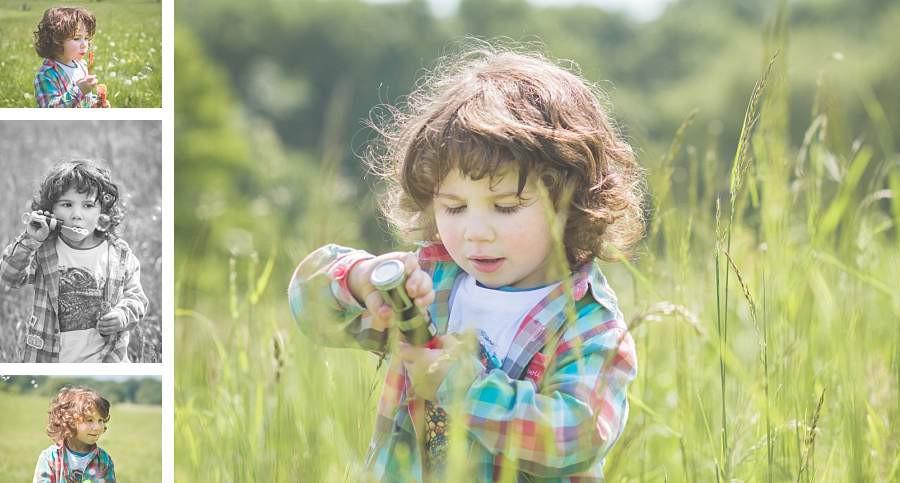 Kinderfotos im Frühling im hohen Gras
