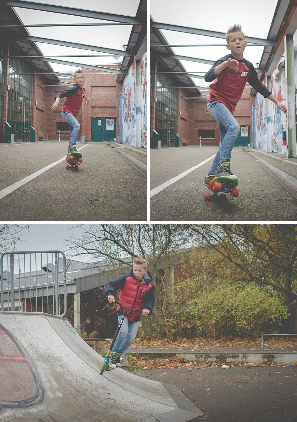 Kinderfotos mit Skateboard und Stunt Scooter