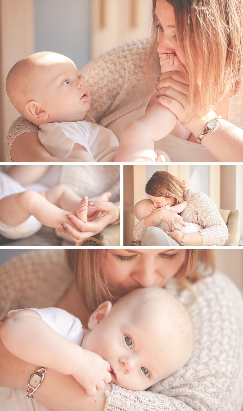 natürliche Mutter-Kind-Fotos zuhause