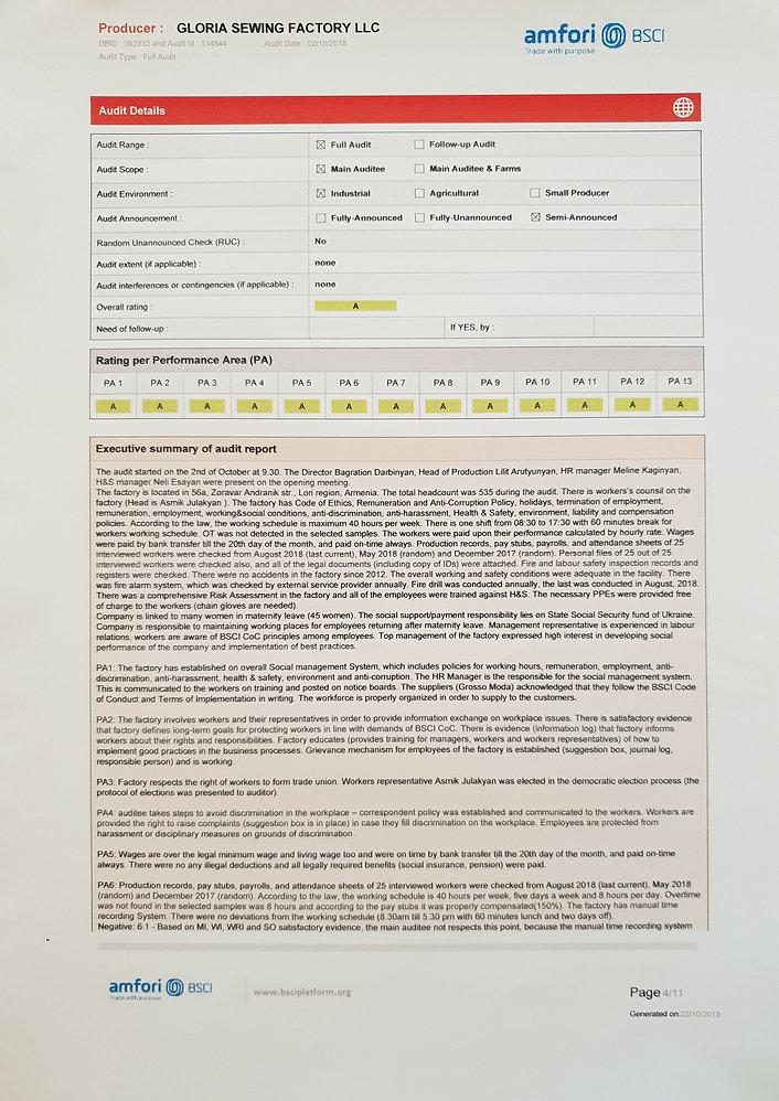 Gloria Sewing/Garments Factory - amfori BSCI Report