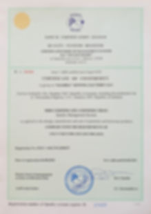 Gloria Sewing Factory - Certificate Iso 9001