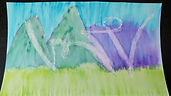 Watercolor titled Winds of Change, white shapes on spring colored background
