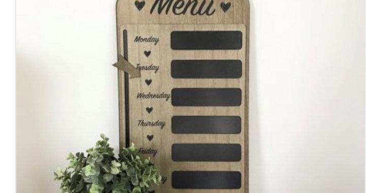 Wooden Weekly Menu Planner