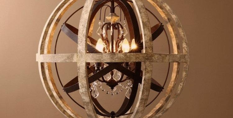 Retro Rustic Weathered Wooden Globe Metal orb Chandelier