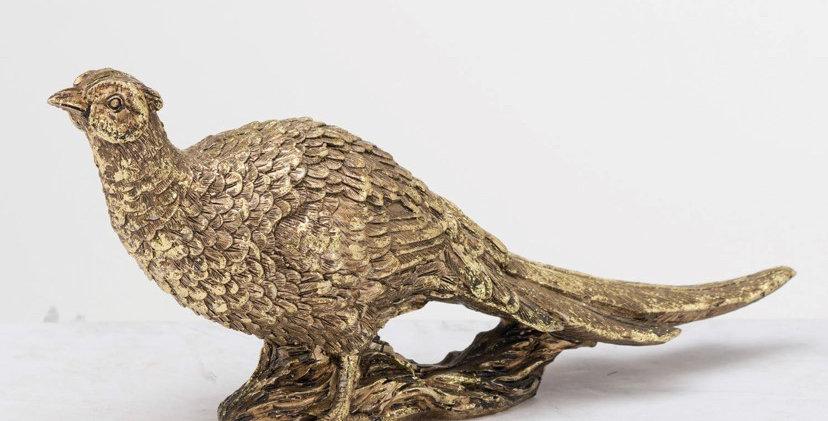 Antique Gold Pheasant Ornament