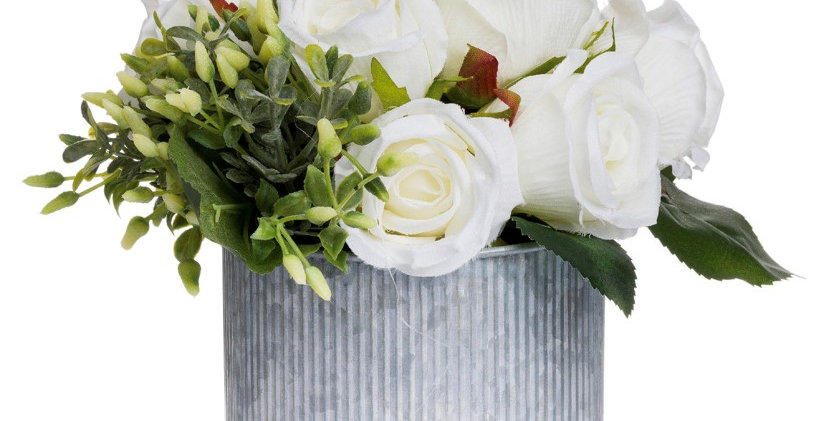 White Rose Bouquet In Tin Pot