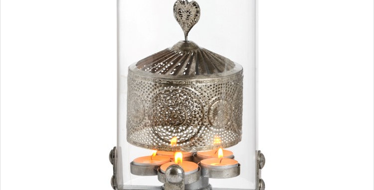 Antique Silver Heart Lantern Spinner