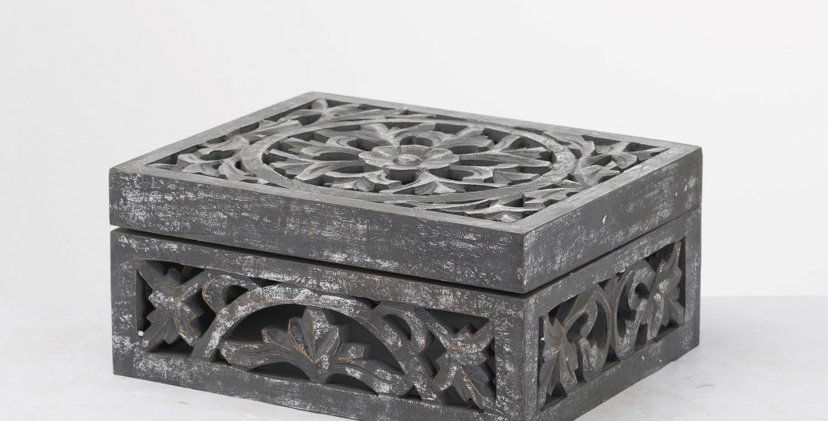 Loustro Carved Antique Metallic Wooden Box