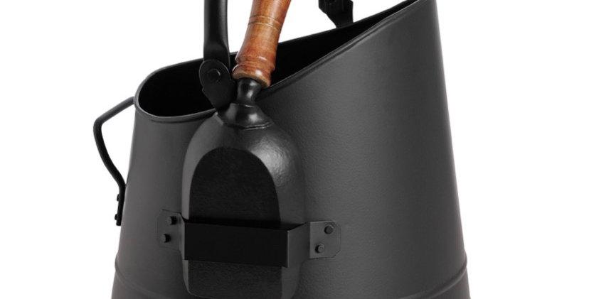 Black Coal Bucket with Teak Handle Shovel