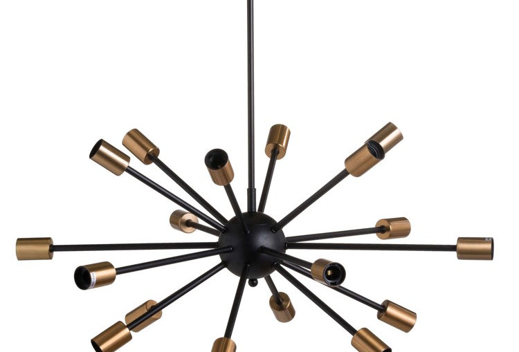 Large Black And Brass Bomb Light