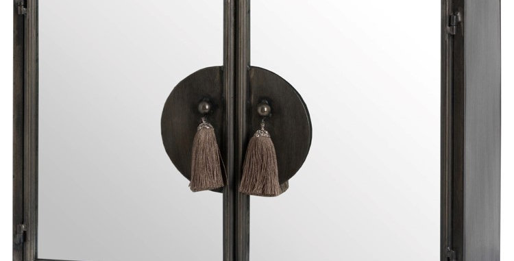 Silver Mirrored Wall Cabinet With Tassel Handles