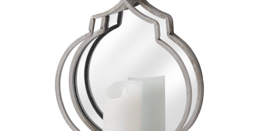 Quarterfoil Design Mirrored Candle Wallhanger