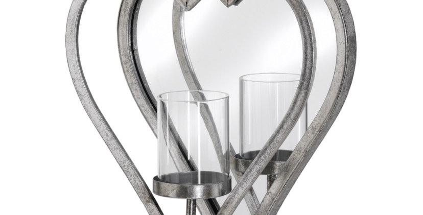 Small Antique Silver Mirrored Heart Candle Holder