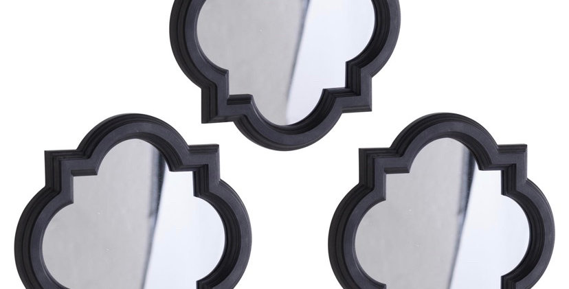 Set Of Three Dark Grey Quarterfoil Mirrors