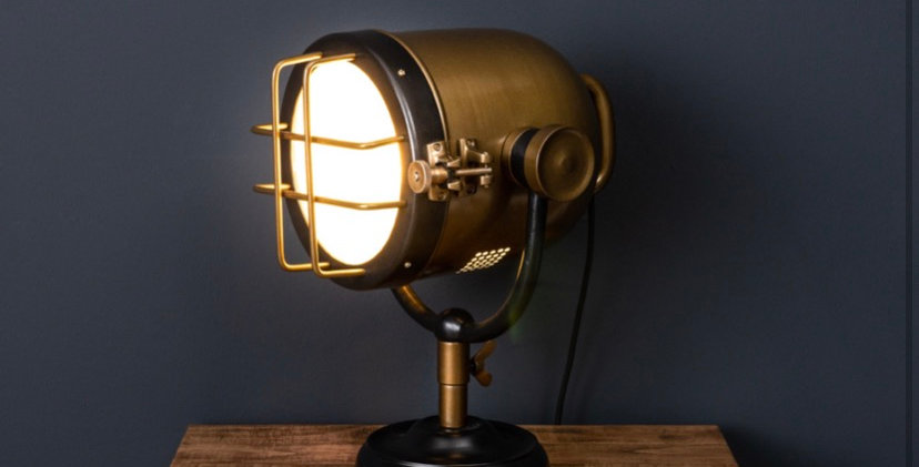 Brass And Black Industrial Spotlight Table Lamp