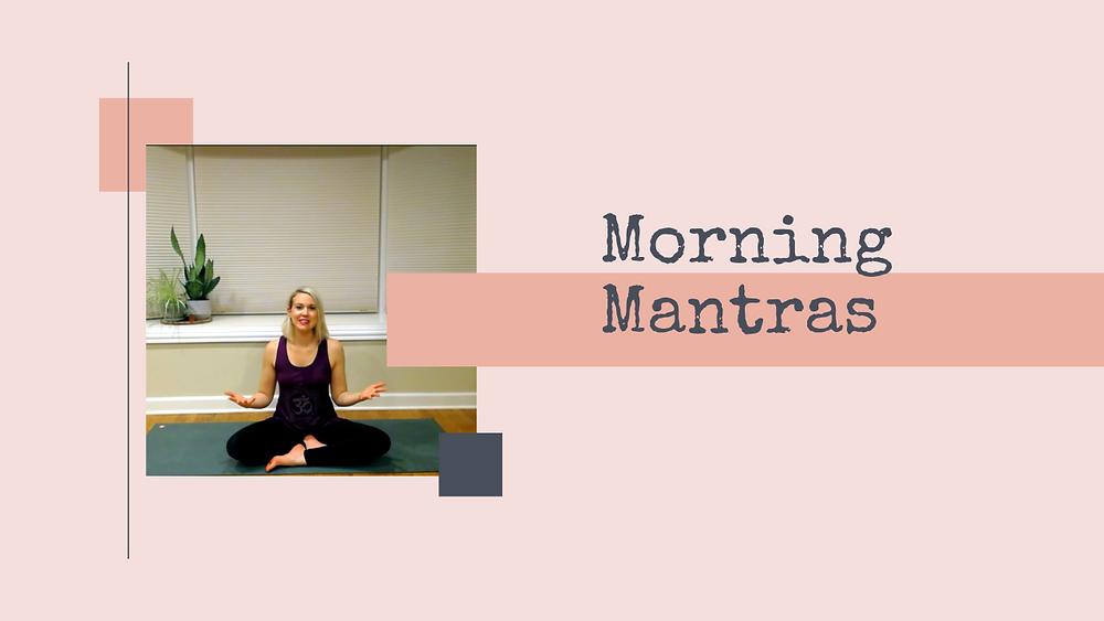 Julie M. Gentile sitting on yoga mat for Morning Mantra practice
