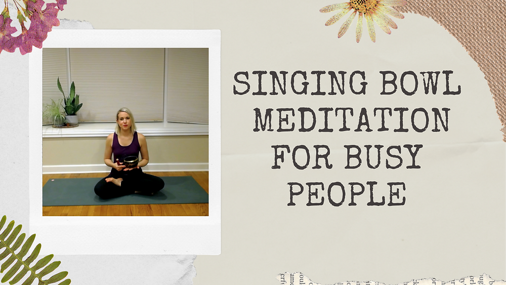 Julie M. Gentile seated with singing bowl on yoga mat