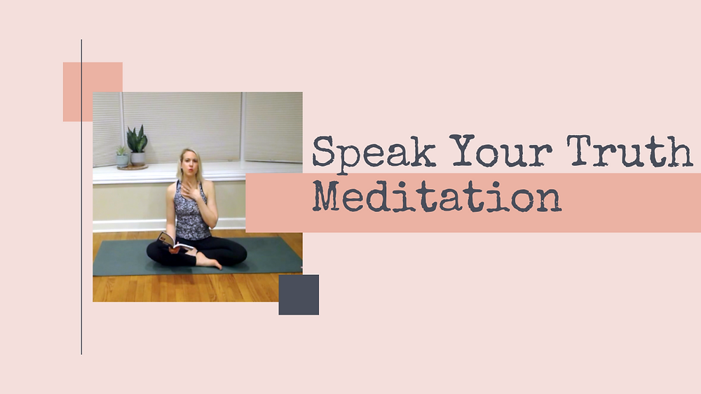 Julie M. Gentile sitting on yoga mat with book for Speak Your Truth Meditation