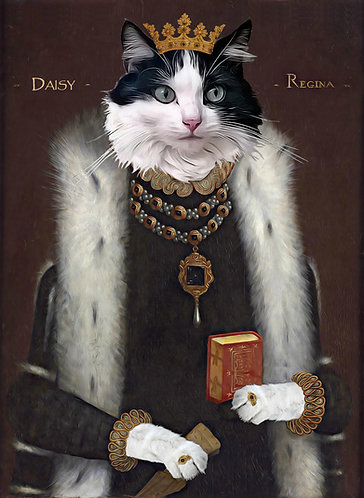 Portrait of Your Cat from Photo in Royal attire on Gallery canvas