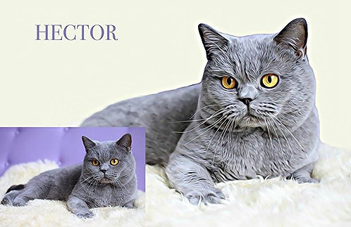 Portrait of Your Cat from Photos printed on Fine Art Paper 10x13""