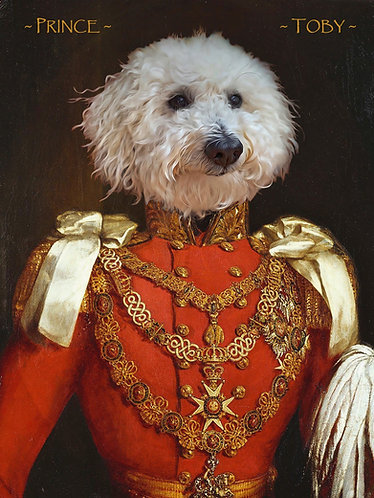 Royal Portrait of Your/Friends/Family Pet on mounted canvas Prince Albert attire